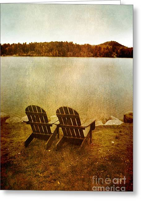 Empty Chairs Greeting Cards - Two Adirondack Chair by the Lake Greeting Card by Jill Battaglia
