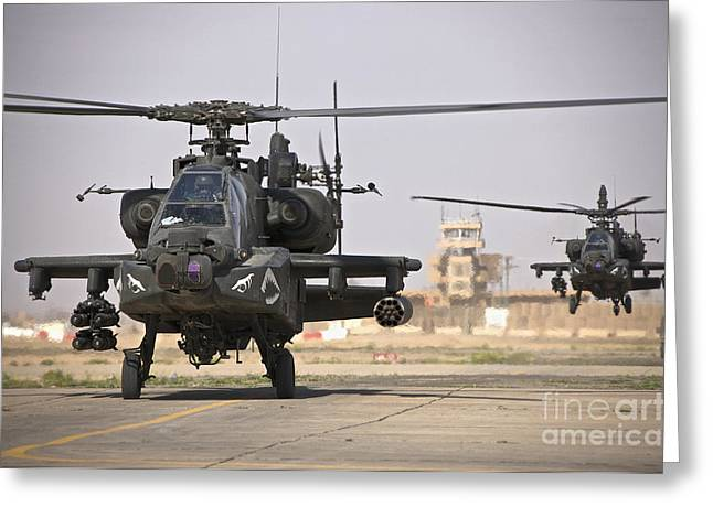 Ah-64 Greeting Cards - Two Ah-64 Apache Helicopters Return Greeting Card by Terry Moore