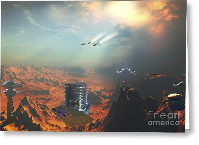 Star Valley Greeting Cards - Two Aircraft Fly Over An Enemy Base Greeting Card by Corey Ford