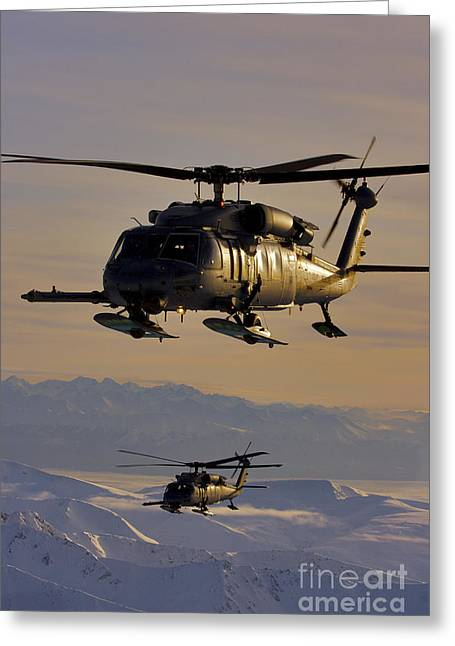 Rotorcraft Photographs Greeting Cards - Two Alaska Air National Guard Hh-60g Greeting Card by Stocktrek Images