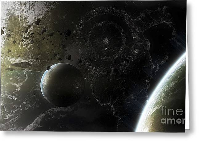 Interstellar Travel Greeting Cards - Two Alien Destroyer Vessels Patrol Greeting Card by Kevin Lafin