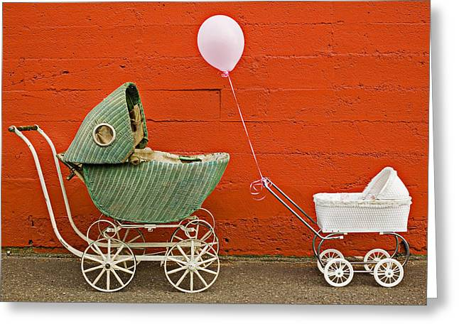 Carriage Greeting Cards - Two baby buggies  Greeting Card by Garry Gay