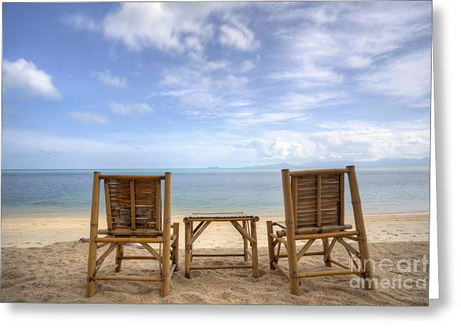 Recliner Greeting Cards - Two bamboo beach chair Greeting Card by Anek Suwannaphoom