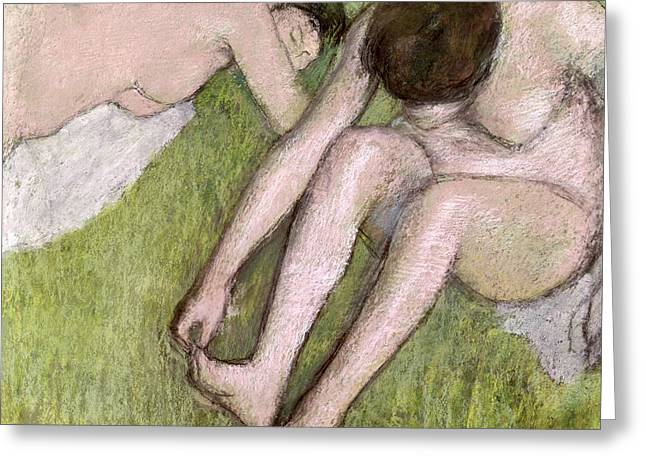 Two By Two Greeting Cards - Two Bathers on the Grass Greeting Card by Edgar Degas