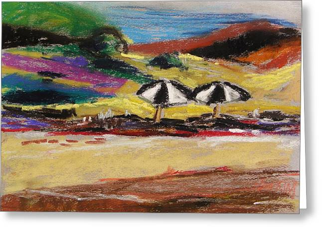Beach Landscape Pastels Greeting Cards - Two Beach Umbrellas Greeting Card by John  Williams