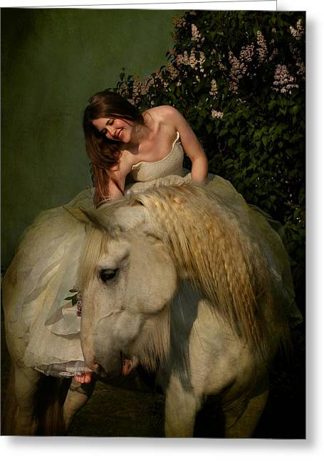 Gray Horse Greeting Cards - Two Beautiful Ladies Greeting Card by Dorota Kudyba