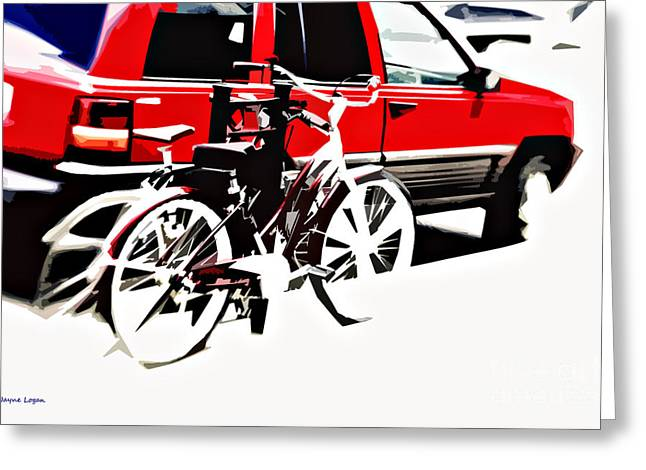 Artography Greeting Cards - Two Bikes Car Street Abstract Greeting Card by Jayne Logan Intveld