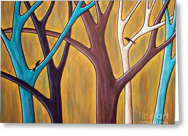 Folk Art Landscapes Greeting Cards - Two Birds And Five Trees Greeting Card by Karla Gerard