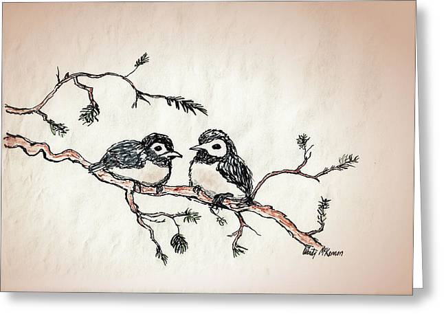 Pine Needles Mixed Media Greeting Cards - Two Birds Greeting Card by Wendy McKennon