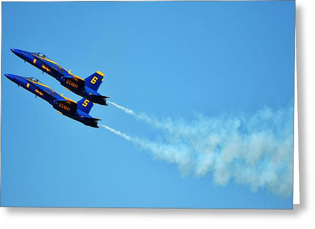 Angel Blues Greeting Cards - Two Blue Angels Greeting Card by Kelly Reber