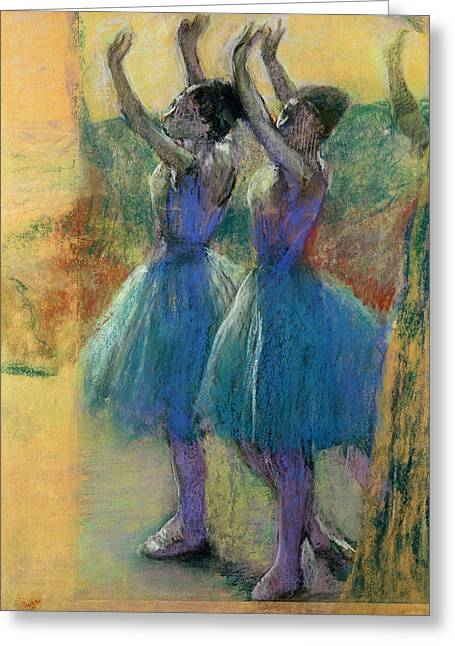 Two By Two Greeting Cards - Two Blue Dancers Greeting Card by Edgar Degas
