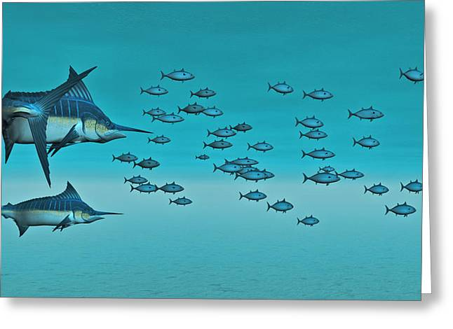 Blue Marlin.white Marlin Greeting Cards - Two Blue Marlin Greeting Card by Walter Colvin