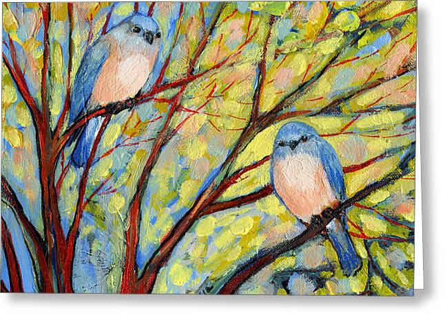 Animals Paintings Greeting Cards - Two Bluebirds Greeting Card by Jennifer Lommers