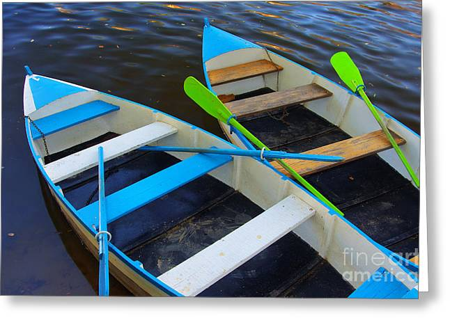 Green Canoe Greeting Cards - Two boats Greeting Card by Carlos Caetano