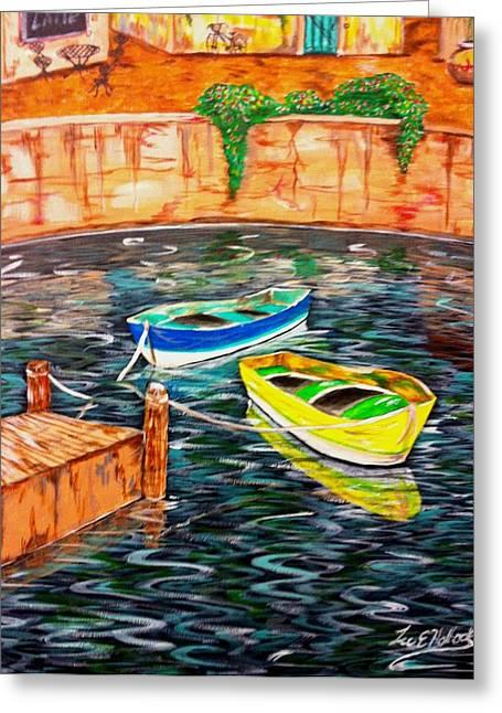 Lee Halbrook Greeting Cards - Two Boats Greeting Card by Lee Halbrook