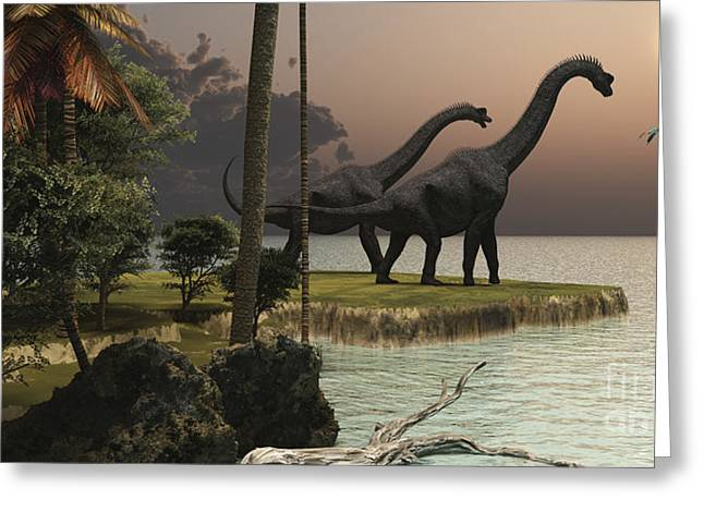 Geology Digital Art Greeting Cards - Two Brachiosaurus Dinosaurs Enjoy Greeting Card by Corey Ford