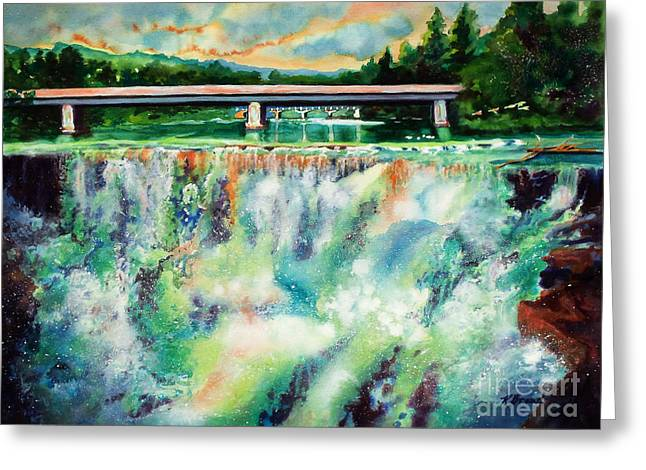 A Natural Bridge Greeting Cards - Two Bridges and a Falls 2          Greeting Card by Kathy Braud