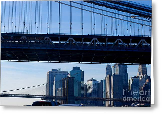 Fdr Drive Greeting Cards - Two Bridges Greeting Card by Andrea Simon
