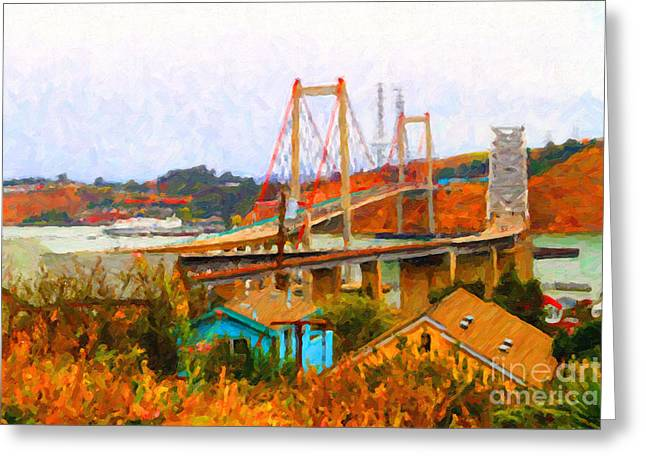 East Bay Digital Art Greeting Cards - Two Bridges in The Backyard Greeting Card by Wingsdomain Art and Photography