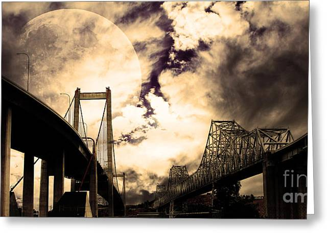 East Bay Digital Art Greeting Cards - Two Bridges One Moon Greeting Card by Wingsdomain Art and Photography