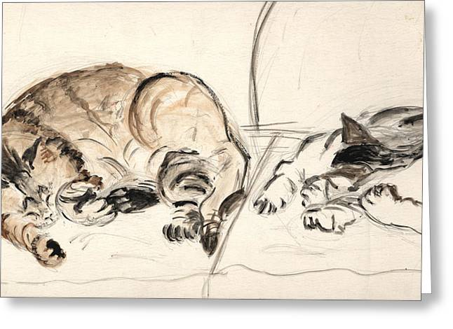 Cat Drawings Greeting Cards - Two Cats on a Couch Greeting Card by Ethel Vrana