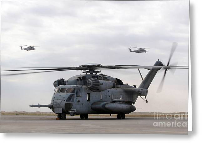 Rotary Wing Aircraft Photographs Greeting Cards - Two Ch-53e Super Stallion Helicopters Greeting Card by Stocktrek Images