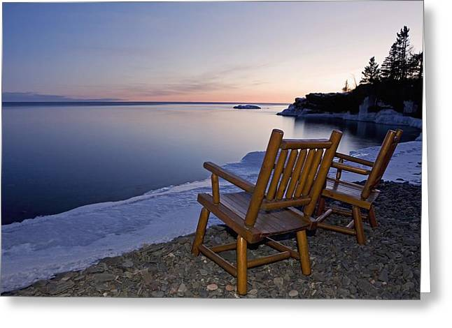 Empty Chairs Greeting Cards - Two Chairs At Waters Edge Looking Out Greeting Card by Susan Dykstra