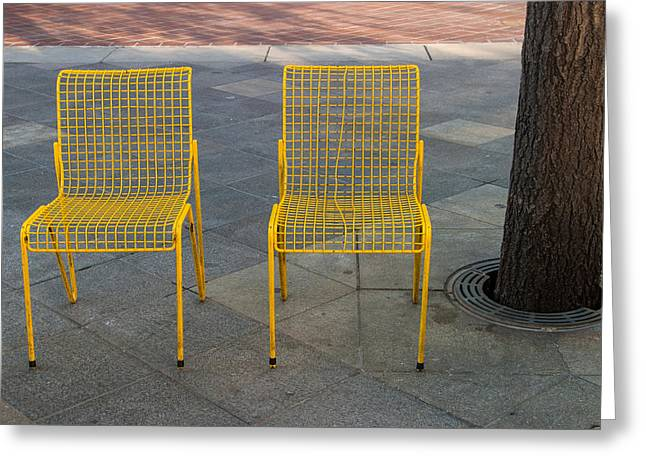 16th Street Mall Greeting Cards - Two Chairs Waiting Greeting Card by Mitchell Baltuch