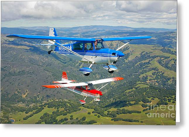 Three Speed Greeting Cards - Two Champion Aircraft Citabrias Greeting Card by Scott Germain