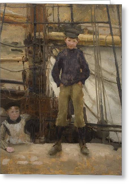 Henry Greeting Cards - Two Children on Deck Greeting Card by Henry Scott Tuke