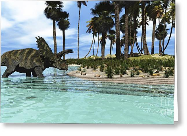 Island .oasis Greeting Cards - Two Coahuilaceratops Dinosaurs Wade Greeting Card by Corey Ford