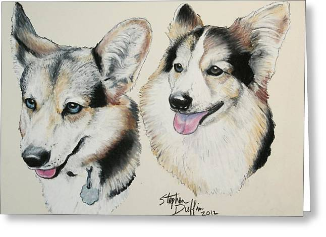 Corgies Greeting Cards - Two Corgies Greeting Card by Stephen Duffin
