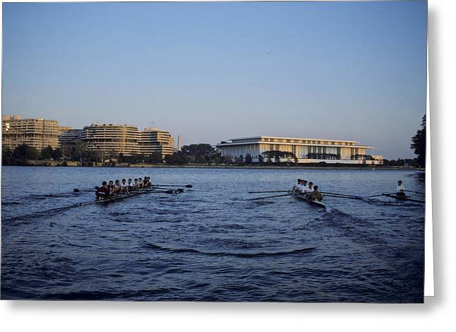 Rowing Crew Greeting Cards - Two Crew Teams Row Side By Side Greeting Card by Kenneth Garrett