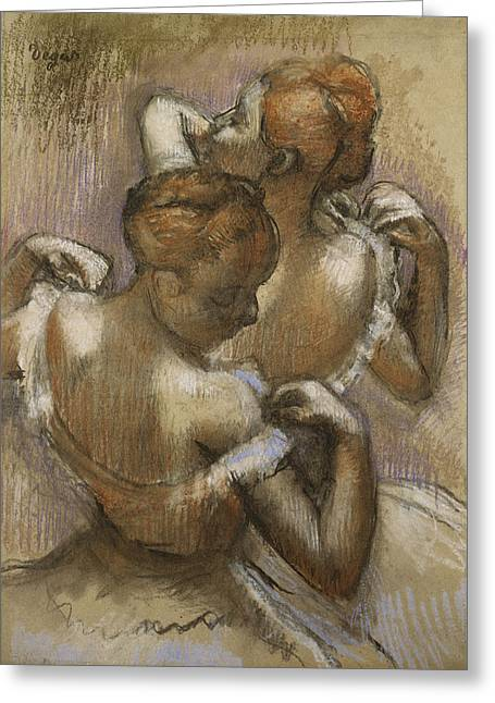 Ballerinas Pastels Greeting Cards - Two Dancers Adjusting their Shoulder Straps Greeting Card by Edgar Degas