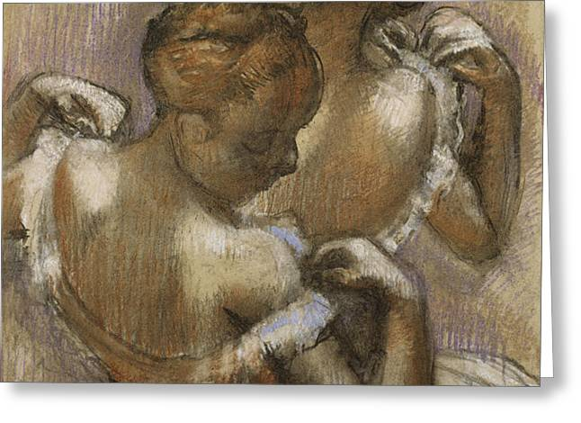 Two Dancers Adjusting their Shoulder Straps Greeting Card by Edgar Degas