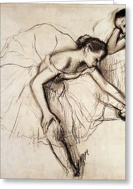 Ballet Dancers Drawings Greeting Cards - Two Dancers Resting Greeting Card by Edgar Degas