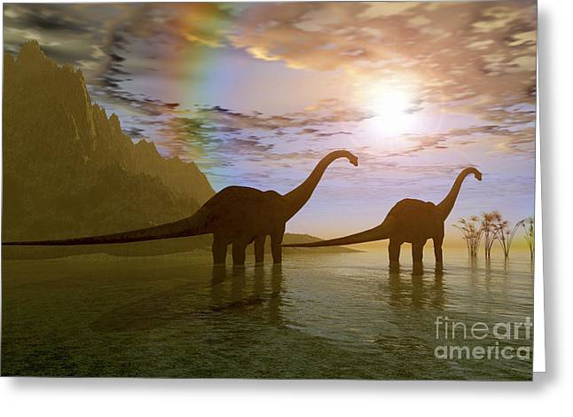 Saurischia Greeting Cards - Two Diplodocus Dinosaurs Wade Greeting Card by Corey Ford