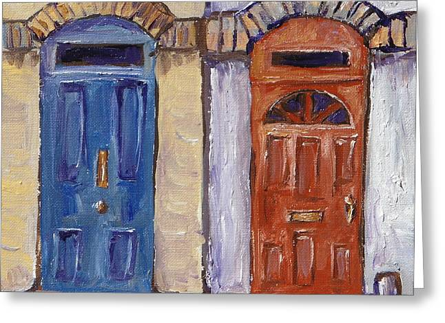 Entryway Paintings Greeting Cards - Two Doors Greeting Card by Sandy Tracey