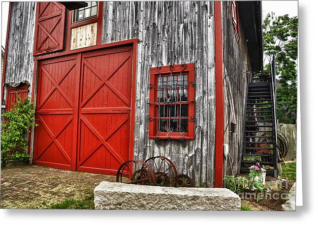 """oldest Wood Building"" Greeting Cards - Two Doors Greeting Card by Tamera James"
