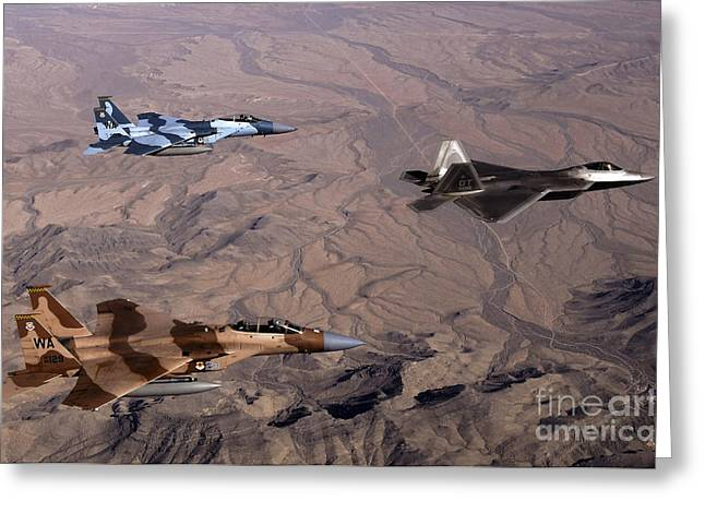 Aggressor Greeting Cards - Two F-15 Agressor Eagles Fly Greeting Card by Stocktrek Images