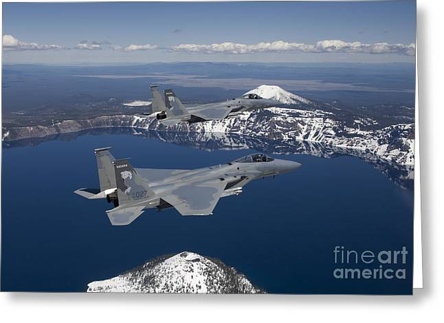 Crater Lake View Greeting Cards - Two F-15 Eagles Fly Over Crater Lake Greeting Card by HIGH-G Productions