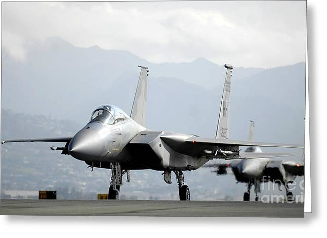 Taxiway Greeting Cards - Two F-15a Eagles On The Flight Line Greeting Card by Stocktrek Images