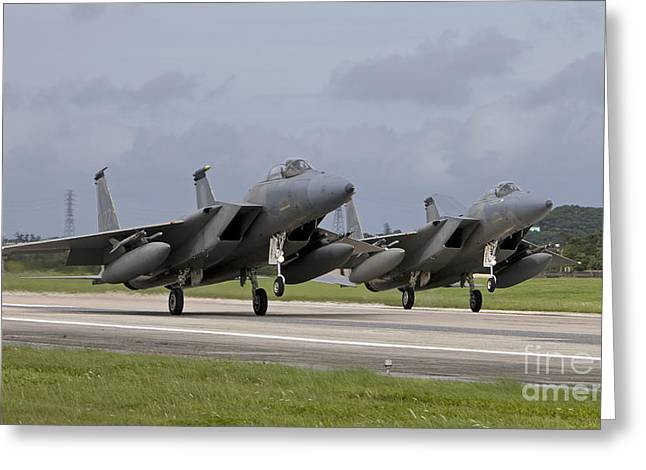 Airbase Greeting Cards - Two F-15s Come In For A Landing Greeting Card by HIGH-G Productions