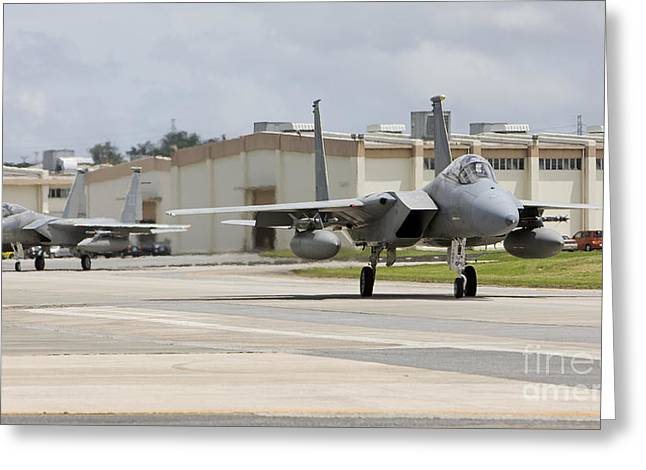 Military Base Greeting Cards - Two F-15s Taxi To The End Of Runway Greeting Card by HIGH-G Productions