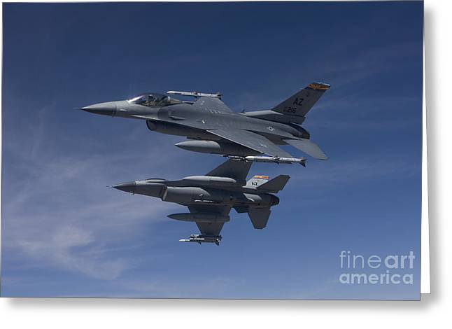 Maneuver Greeting Cards - Two F-16s Manuever On An Air-to-air Greeting Card by HIGH-G Productions