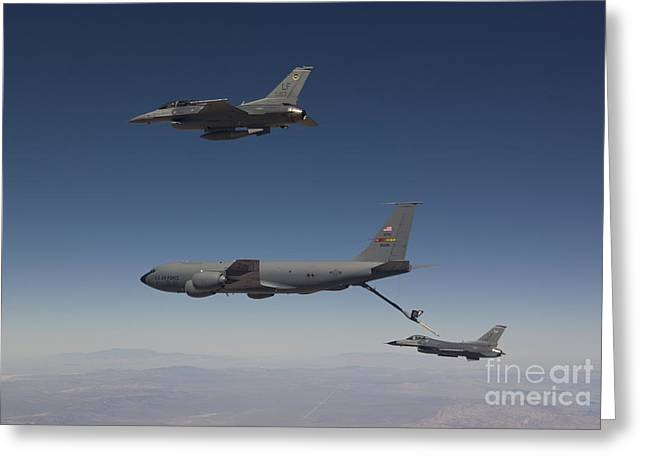 Cooperation Greeting Cards - Two F-16s Prepare To Refuel Greeting Card by HIGH-G Productions
