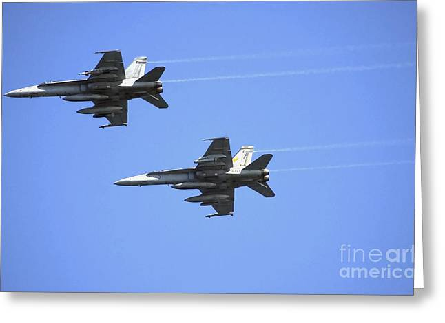 F-18 Greeting Cards - Two F-18 Hornets In Flight Greeting Card by Stocktrek Images