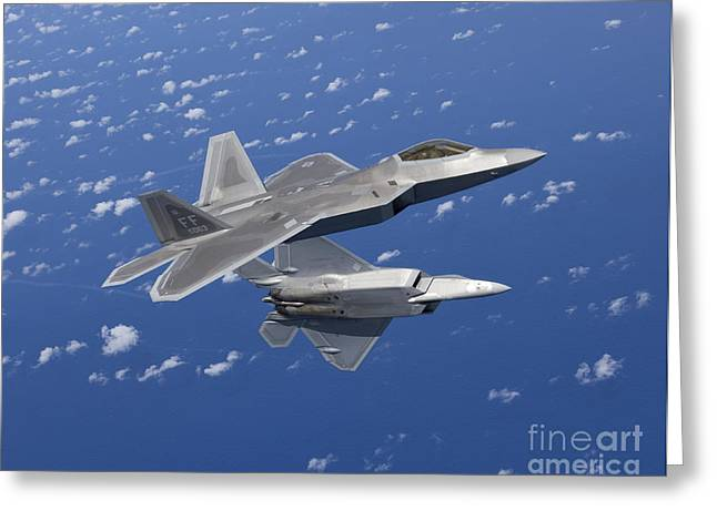 Close To People Greeting Cards - Two F-22 Raptors Maneuver While Flying Greeting Card by HIGH-G Productions