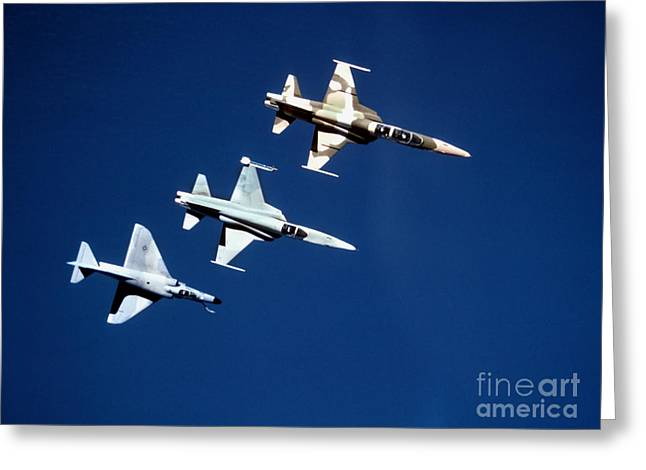 Cooperation Greeting Cards - Two F-5 Tiger Iis And An A-4e Skyhawk Greeting Card by Dave Baranek