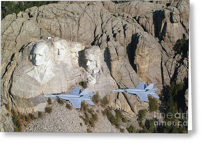 F-18 Greeting Cards - Two Fa-18e Super Hornets Conduct A Fly Greeting Card by Stocktrek Images